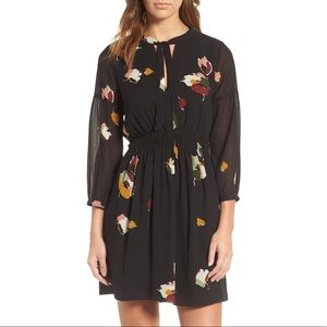 MADEWELL Painted Floral Tie Neck Dress